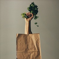 Photo of an arm rising out of a paper bag holding food greens.