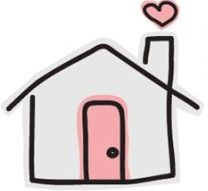 grey house with pink door and heart over chimmney - westford parent connection logo