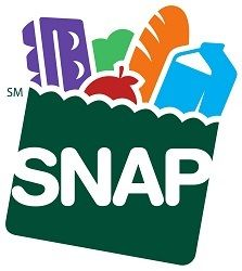 SNAP logo - clipart of a green paper bag with colorful groceries
